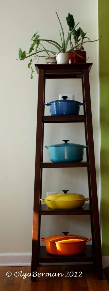 You have to display your Le Creuset collection! They're too beautiful to hide in a cabinet.