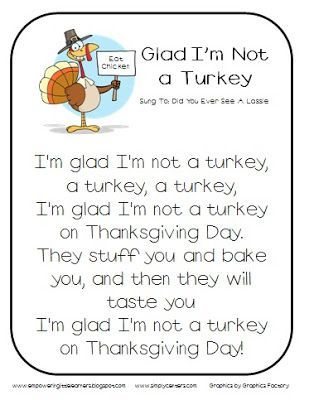 Classroom Freebies: Glad I'm Not a Turkey Song #FREE #ClassroomFreebies