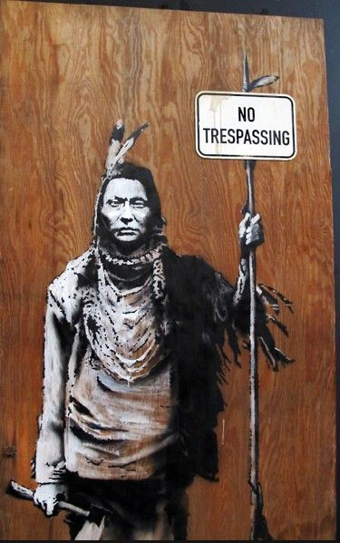 I like this piece because my dad and I love Native American culture, I also love street art and would like to incorporate this into my art , lastly I understand the message it sends 15 September 2015