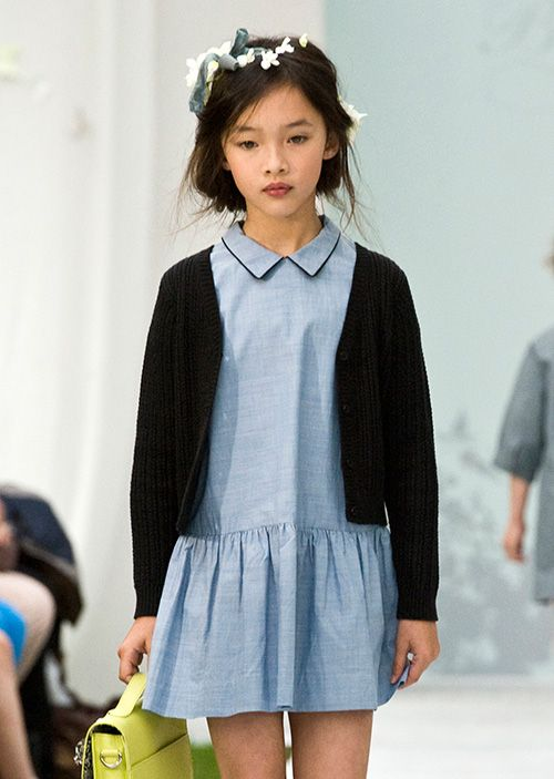 """Bonpoint 2014 while the outfit is darling and the model lovely, she looks so sad. Makes the outfit read """"institutional uniform""""."""