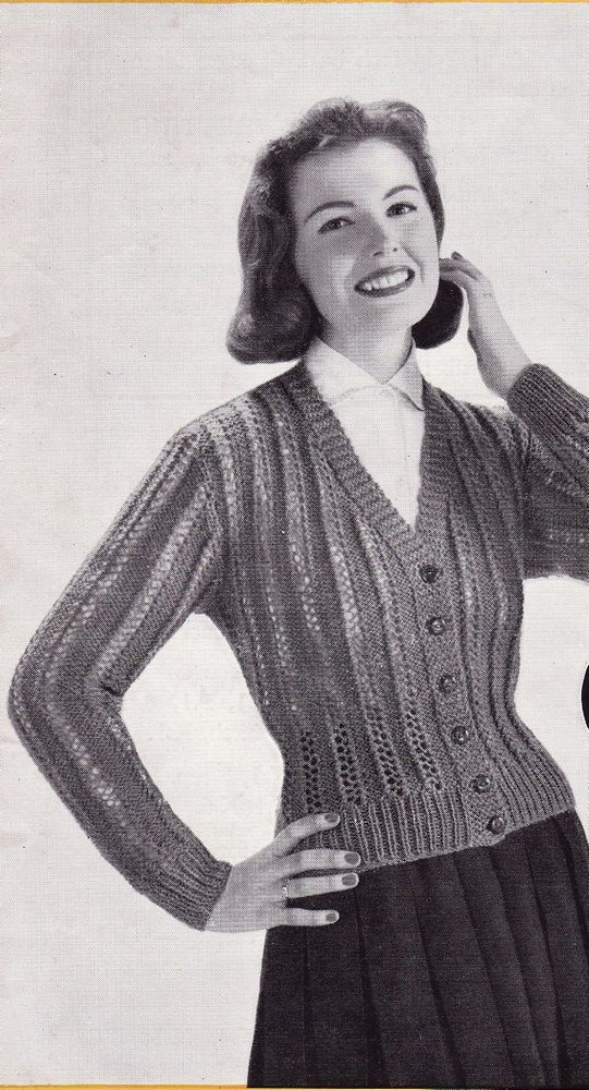 Vintage Knitting Pattern Instructions to Make Ladies Lacy Double Knit Cardigan