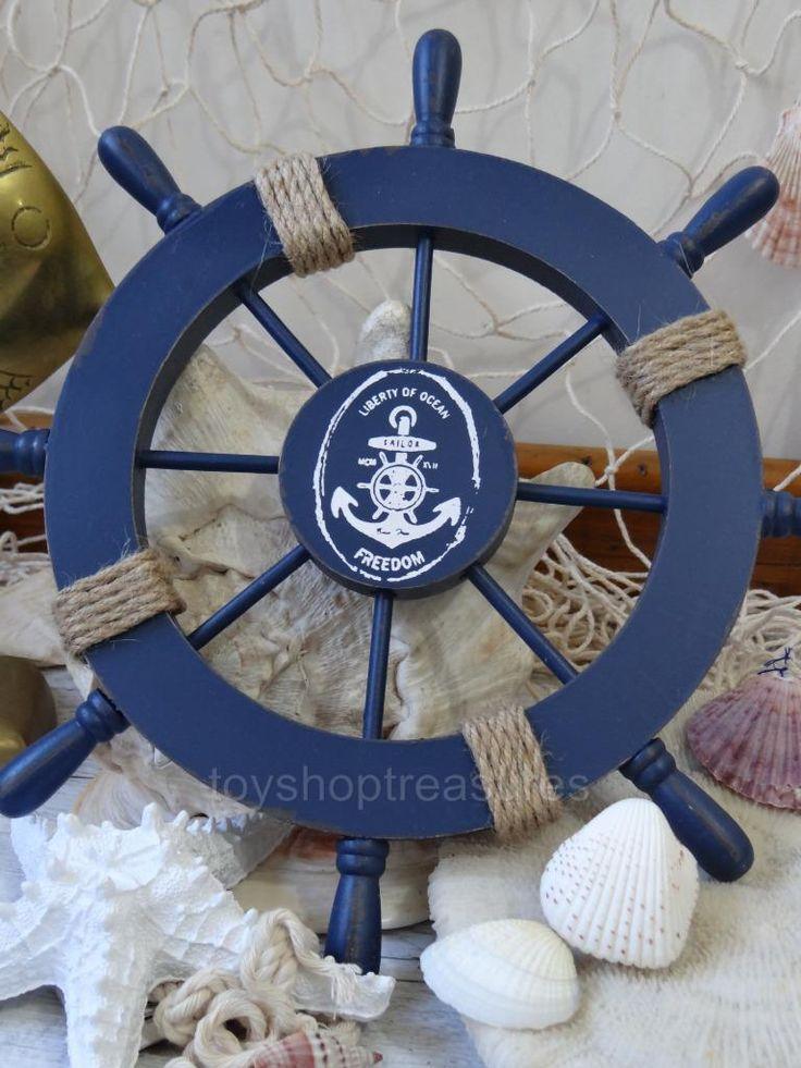 Vintage Style Wood Ships Wheel Beach House Decor Nautical Blue - Wall Hang