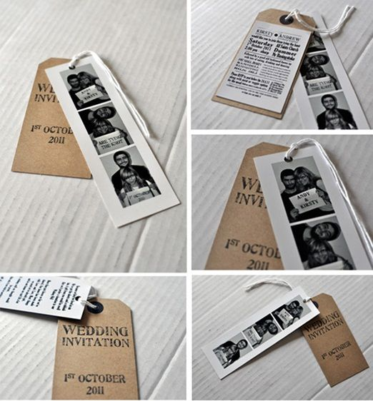 Photobooth and brown luggage tag wedding invitations and how you can make your own