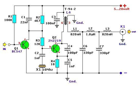 A finalidade deste transmissor é a emissão de código morse apenas na banda dos 30 metros (10MHz).  É um emissor de baixa potência tipo QRP ...