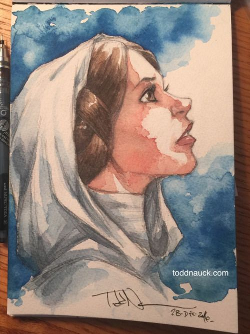 "By Todd Nauck - ""A piece of watercolor tribute art in honor of the passing of Carrie Fisher. Her role as Princess Leia has been an inspiration to so many of us. Especially those of us that grew up on the Star Wars movies."""