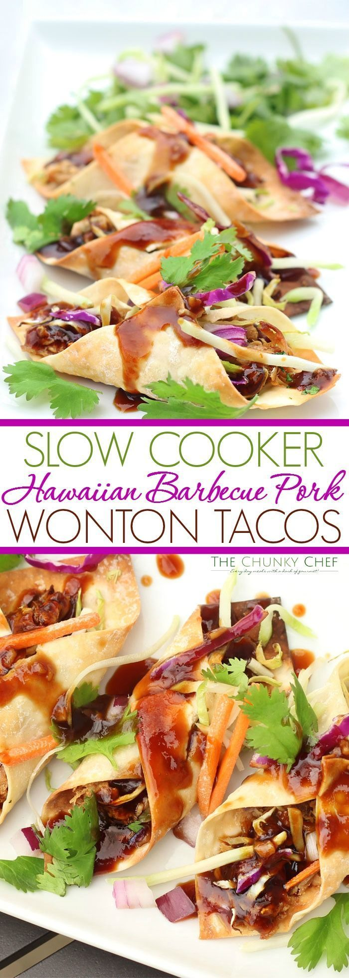 Slow Cooker Hawaiian BBQ Pork Wonton Tacos | This Hawaiian BBQ pork is made easy by using a slow cooker, then wrapped up in crispy wonton taco shells and drizzled with a heavenly BBQ sauce! | http://thechunkychef.com