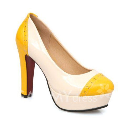 $25.18 Pretty Women's Pumps With Color Block and Round Toe Design