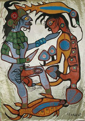 The Offering, 1976, by First Nations artist Norval Morrisseau (Canadian, 1931–2007). Acrylic on satin