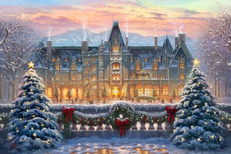 Christmas at Biltmore becomes a work of art with this Thomas Kinkade Studios painting. Perfect for holiday decorating! Shop Biltmore products for your home this holiday season!