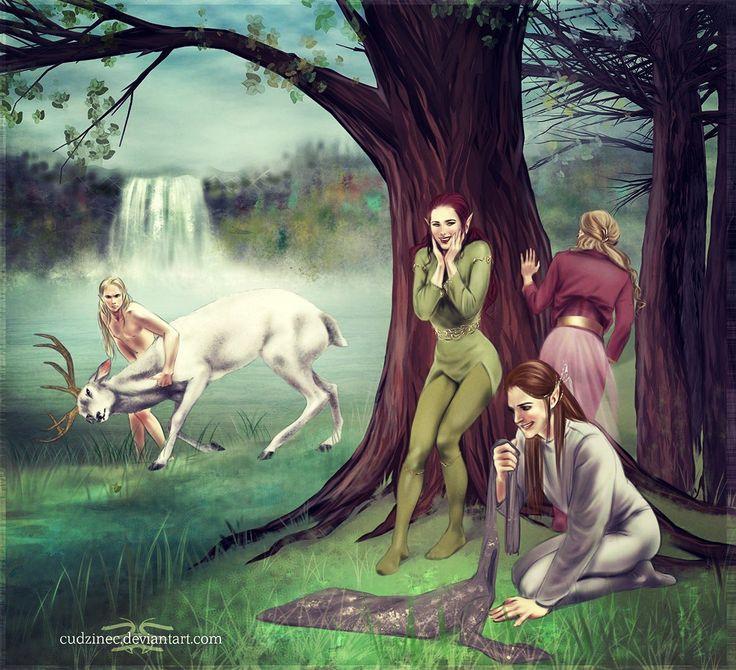 Эльфийские девы похищают одежду купающегося принца Трандуила))) Marauders by Cudzinec on DeviantArt (Female wood elves stealing Thranduil's clothes xD)