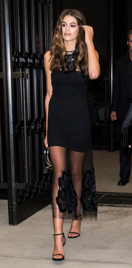 And just like that Kaia Gerber is following in mom Cindy Crawford's footsteps. The 15-year-old model won the Breakthrough Model Award at The Daily Front Row's Fashion Media Awards in a LBD with a sheer floral-embroidered yoke and hem, complete with black Stuart Weitzman sandals.
