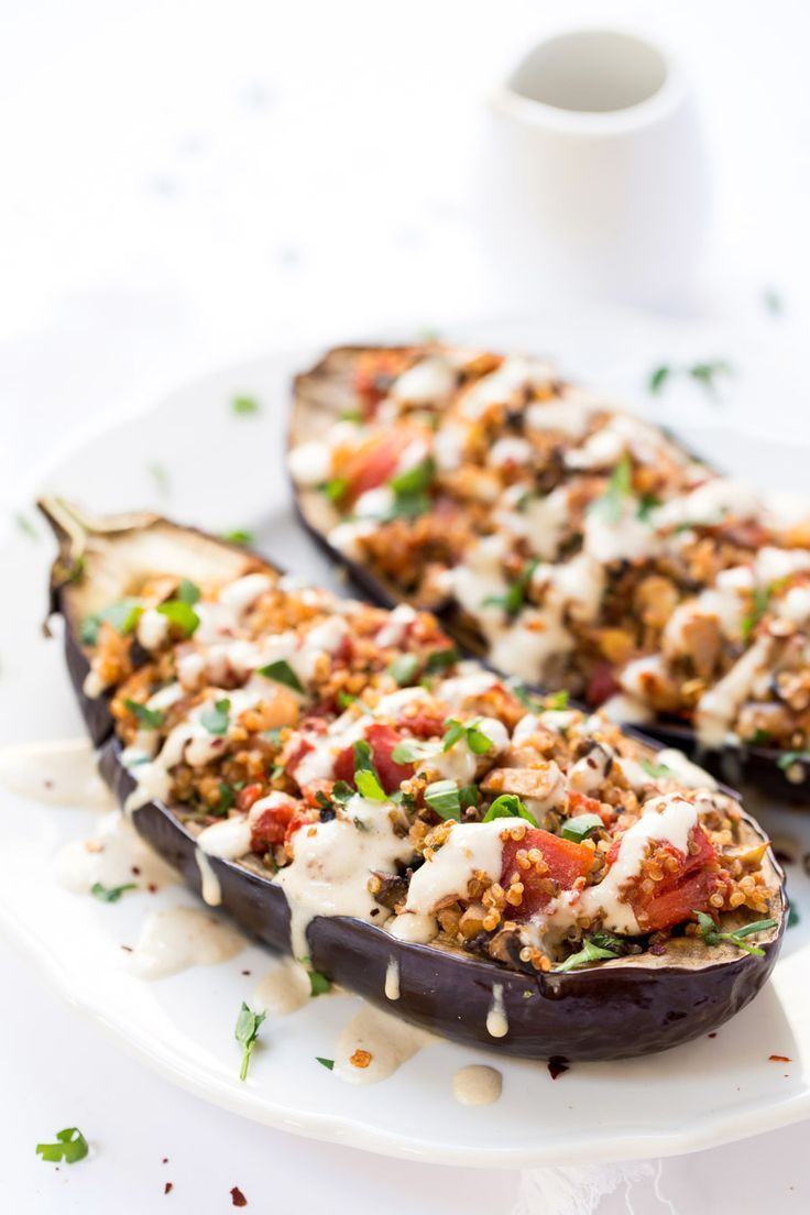 Quinoa Stuffed Eggplant - with mushrooms, tomatoes and a creamy tahini sauce on top! Ready in just 30 MINUTES! vegan