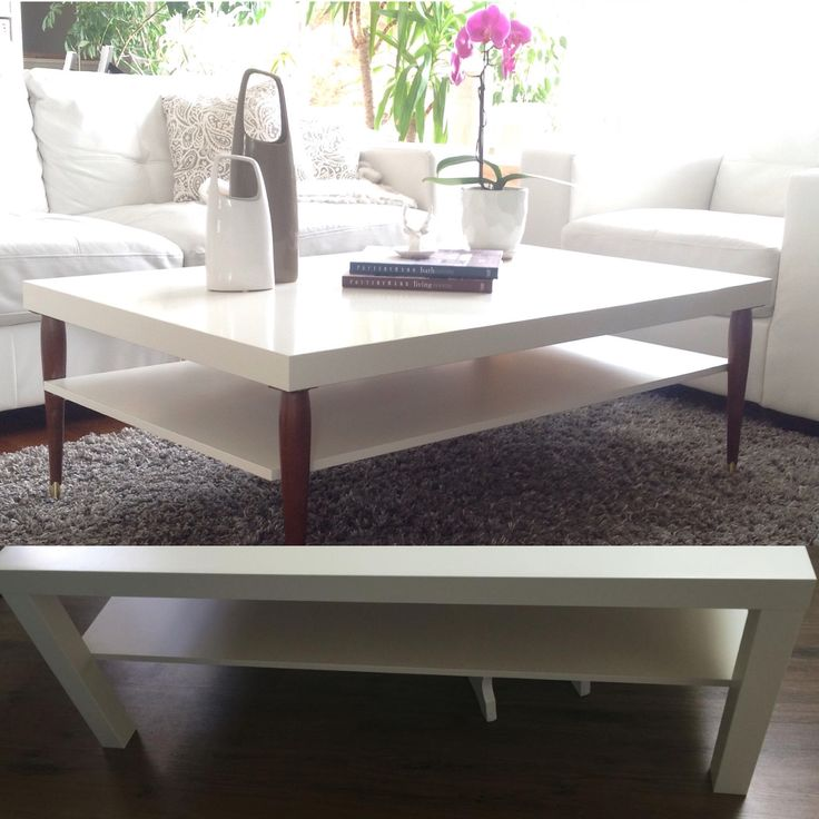 Modern High Gloss White Square Coffee Table With 2 Layers: Ikea Hacks: 10+ Handpicked Ideas To Discover In DIY And