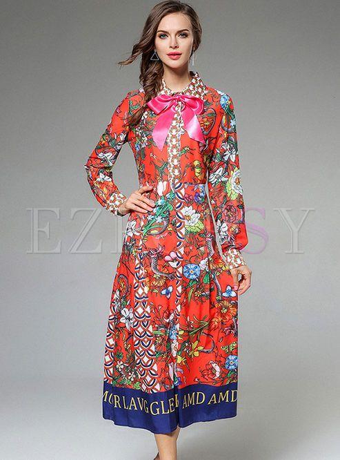 Shop Floral Print Bowknot Lantern Sleeve Maxi Dress at EZPOPSY. Discover fashion  online. 78f49a19ab8