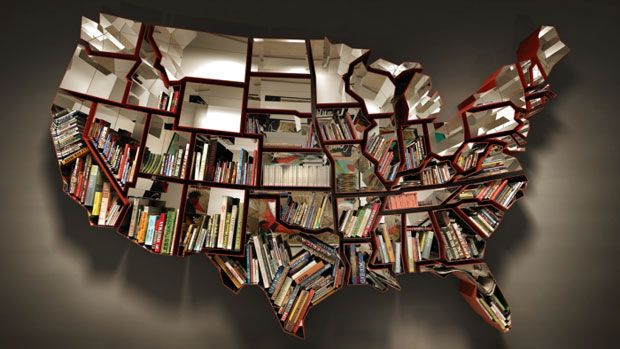 United States Bookshelf but can this be purchased in a shape of any other country? I'd love to have Italy <3    [Titled 'Oh, the farmer and the cowman should be friends,' the bookshelf was created by artist Ron Arad and is available through the Timothy Taylor Gallery.]