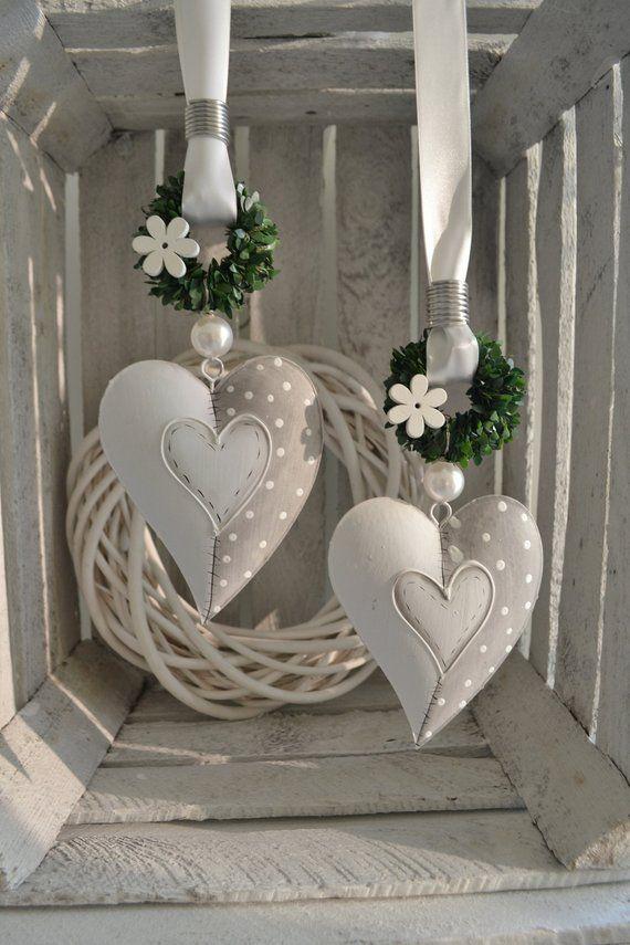Decorative Grey White Heart Shabby Chic 14 X 11 Cm Shabby Chic