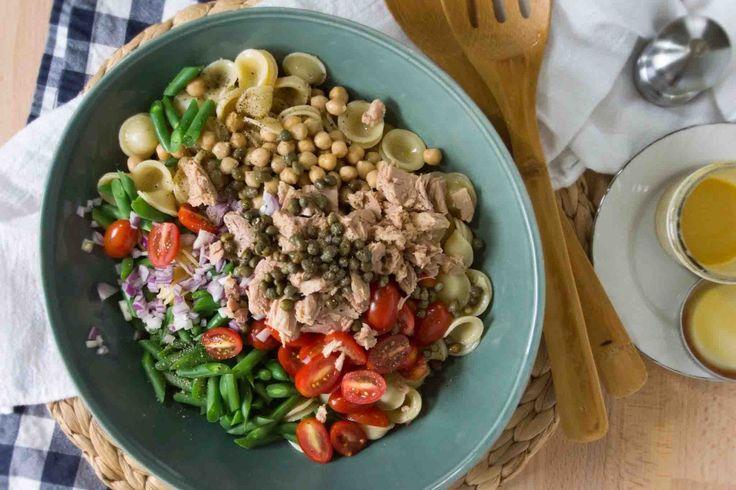 Tuna, Chickpea & Caper Orecchiette Pasta Salad - for low sodium, omit added salt and capers; use half low sodium white and half low sodium light tuna packets