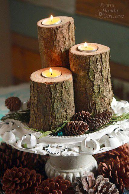 Best 25 Log Candle Holders Ideas On Pinterest Logs