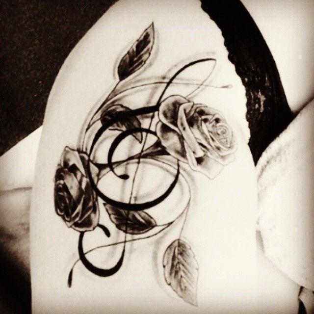 music+rose+tattoos | tattoo music trebleclef flower rose blackandwhite thigh uncategorized