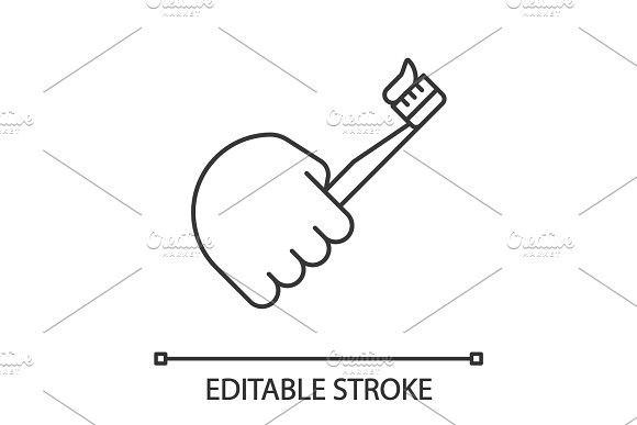 Hand Holding Toothbrush Linear Icon Brushing Teeth Line Illustration How To Draw Hands