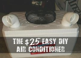 Whoa - a large air conditioner for $25. This is a DIY air conditioner using common supplies like a foam cooler, PVC pipe and more. This do it yourself project can be done for $25 or less, but you will save loads and loads of money by making your own air conditioner. So learn how to make an air conditioner here.