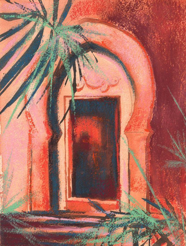 #Moroccan #doorway #Mediterranean #art #mixed #media #pastels #hot #warm #orange #pink #palms #alleyway #watercolour #watercolour #demo #tutorial #stepbystep #painting #art