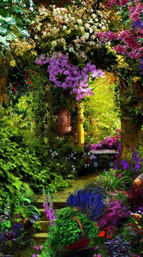 Garden Entry, Provence, France. Such a lush, beautiful garden. Love that arch