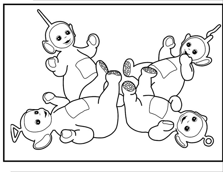 sleeping together teletubbies coloring picture for kids - Teletubbies Dipsy Coloring Pages
