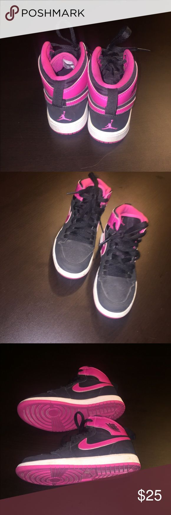 "Nike ""Jordan Air Flights"" black and pink hi-tops. Nike, Jordan Air Flights"" black and pink hi-tops. Girls. Size 1.5 GUC! These were only worn 3 OR 4 times as the ""good"" pair of sneakers. No rips or stains. Smoke and Pet free home! Nike Shoes Sneakers"