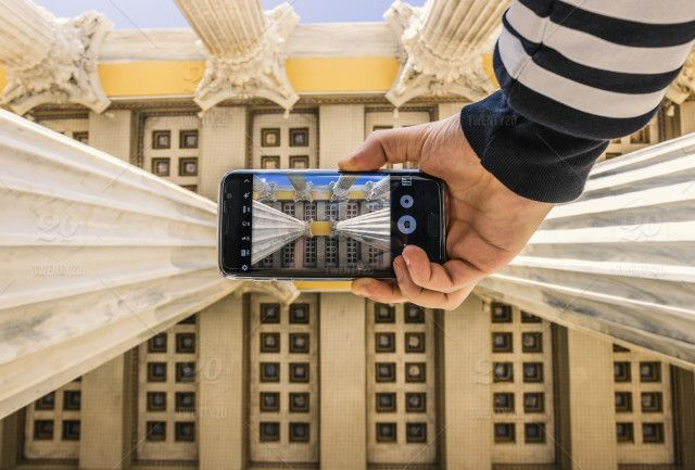 stock photo, architecture, creative, look-up, cell-phone