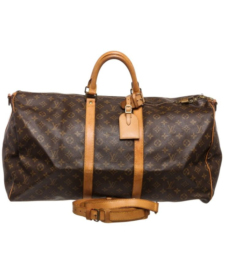 LOUIS VUITTON Pre Owned - Louis Vuitton Monogram Canvas Leather Keepall 55 Cm Bandouliere Duffle Bag Luggage'. #louisvuitton #bags #shoulder bags #hand bags #canvas #leather #lining #