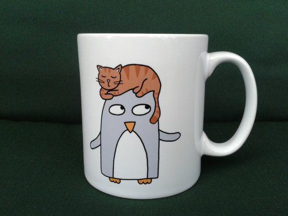 Penguin and Cat Mug Gift  Funny Penguin Gift  by penguinparadeshop