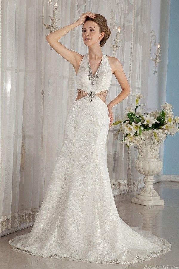 Beautiful Unique Sexy Beading Halter Deep V neck Chapel Train Lace Wedding Dress