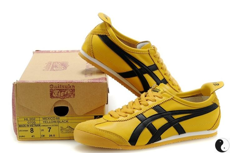 buy popular c591a 96b03 ... Beige Yellow Shoes  Onitsuka Tiger Mexico 66 Yellow Black Leather  Trainers   Onitsuka Tiger Online   Pinterest   Black ...
