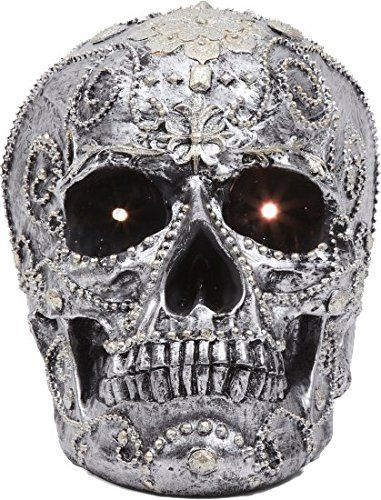Secretly Famous Halloween Decor - Decorative LED Skull with Bonus