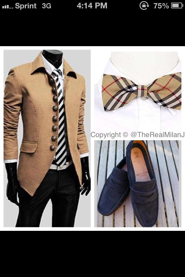 Casual men's business look. Burberry Bow Tie & Blue Suede Loafers
