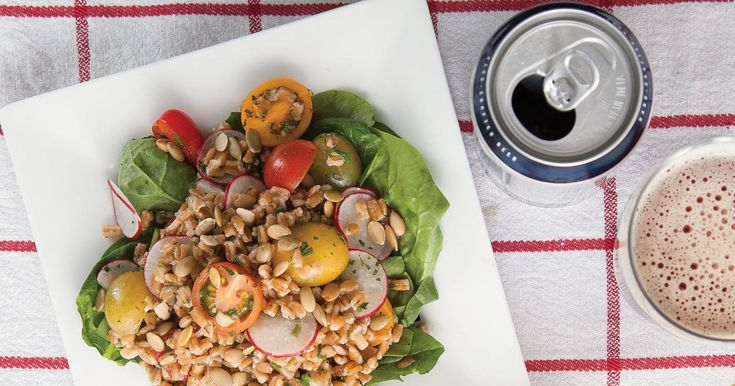 Farro, an ancient grain with a nutty flavor and hints of cinnamon, pairs well with wheat beer in this tasty salad.