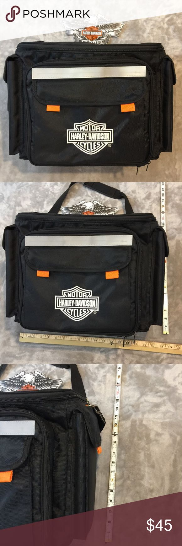 "Harley Davidson Insulated Bag Bag measures 17"" X 13"" X 9"" wide. Perfect size for a picnic lunch. Bag could pass for new, it's in excellent condition. Comes with HD salt and pepper shakers only Harley-Davidson Bags Travel Bags"