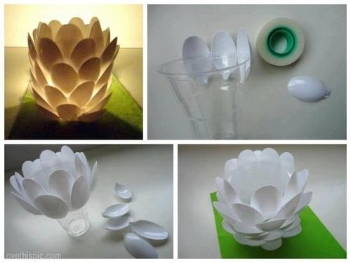 DIY Plastic Spoon Luminaire