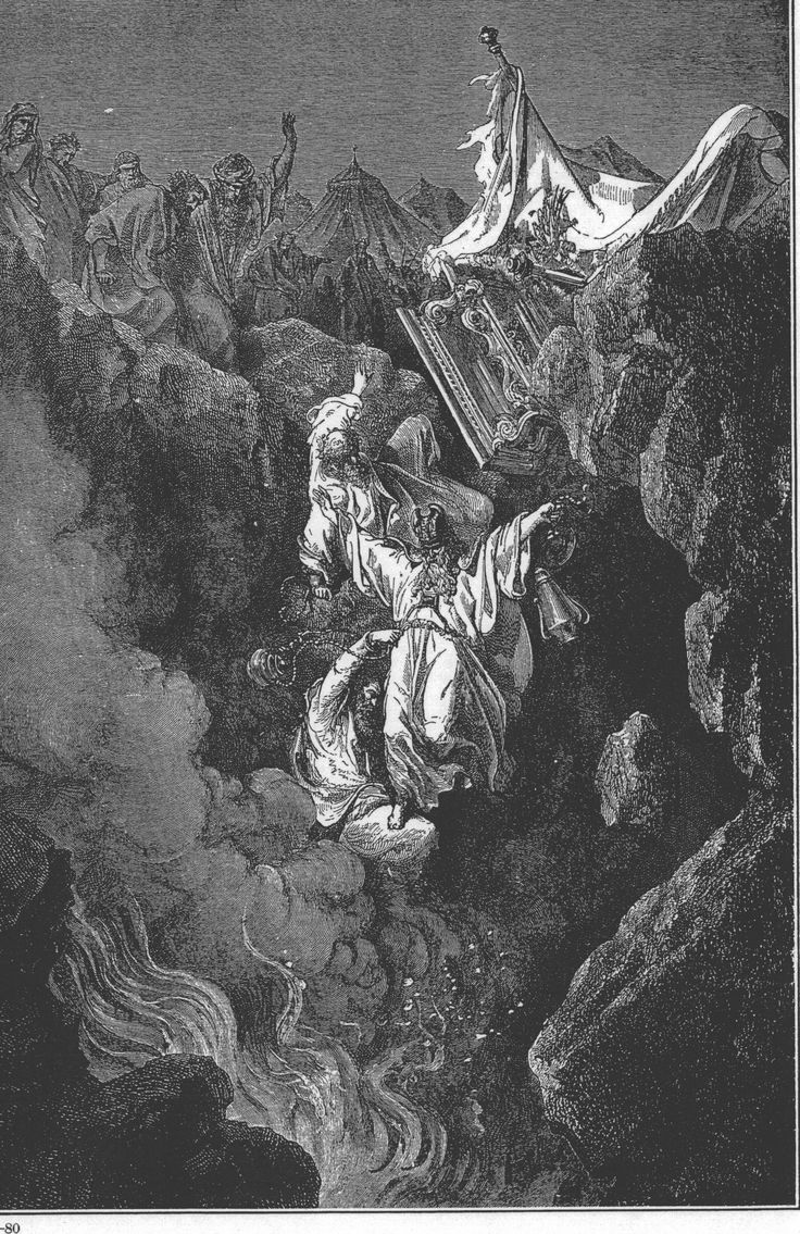 The Death of Korah, Dathan, and Abiram (1865 etching by Gustave Doré)