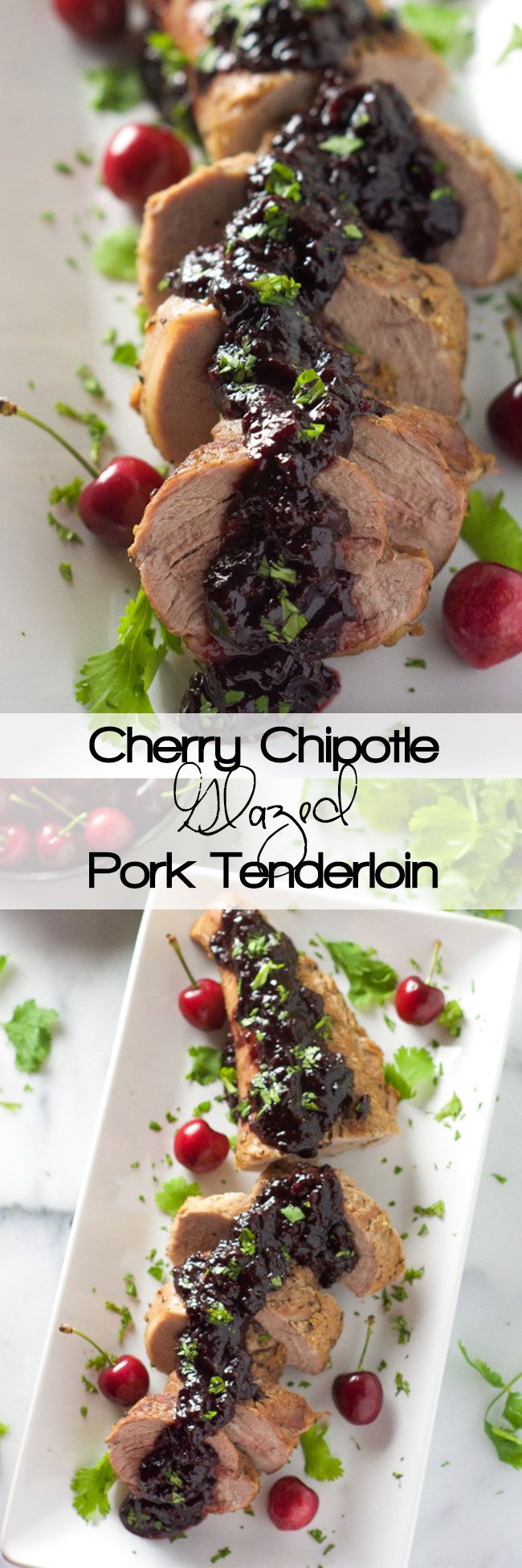 Cherry Chipotle Glazed Pork Tenderloin is a simple 5 ingredient dinner! Tender pork glazed with a chipotle spiked cherry maple sauce!