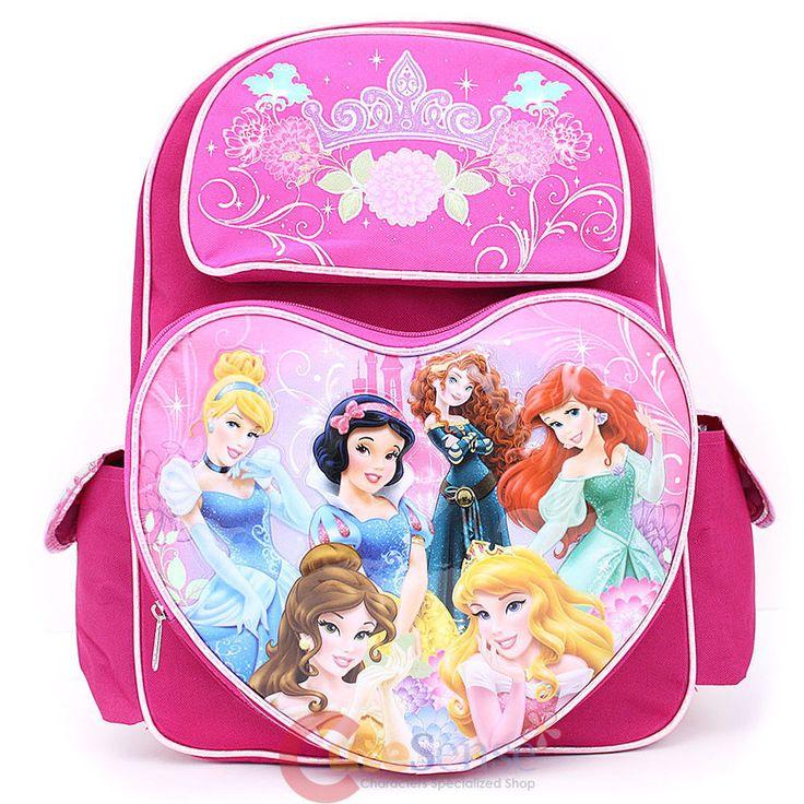 """Disney Princess with Brave Large School Backpack 16"""" Bag Pink Hearts Pocket  #DisneyPrincesses #Backpack"""