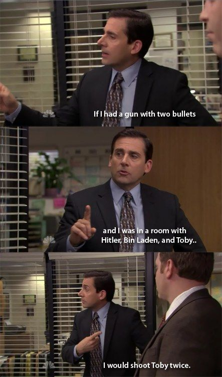 When he had more compassion for mass murderers. | Community Post: 18 Times Michael Scott's Hatred For Toby Went Too Far