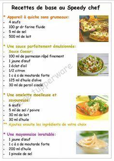 Tupperware - Recettes de base au speedy chef : appareil à quiche, sauce caesar, omelette, mayonnaise.