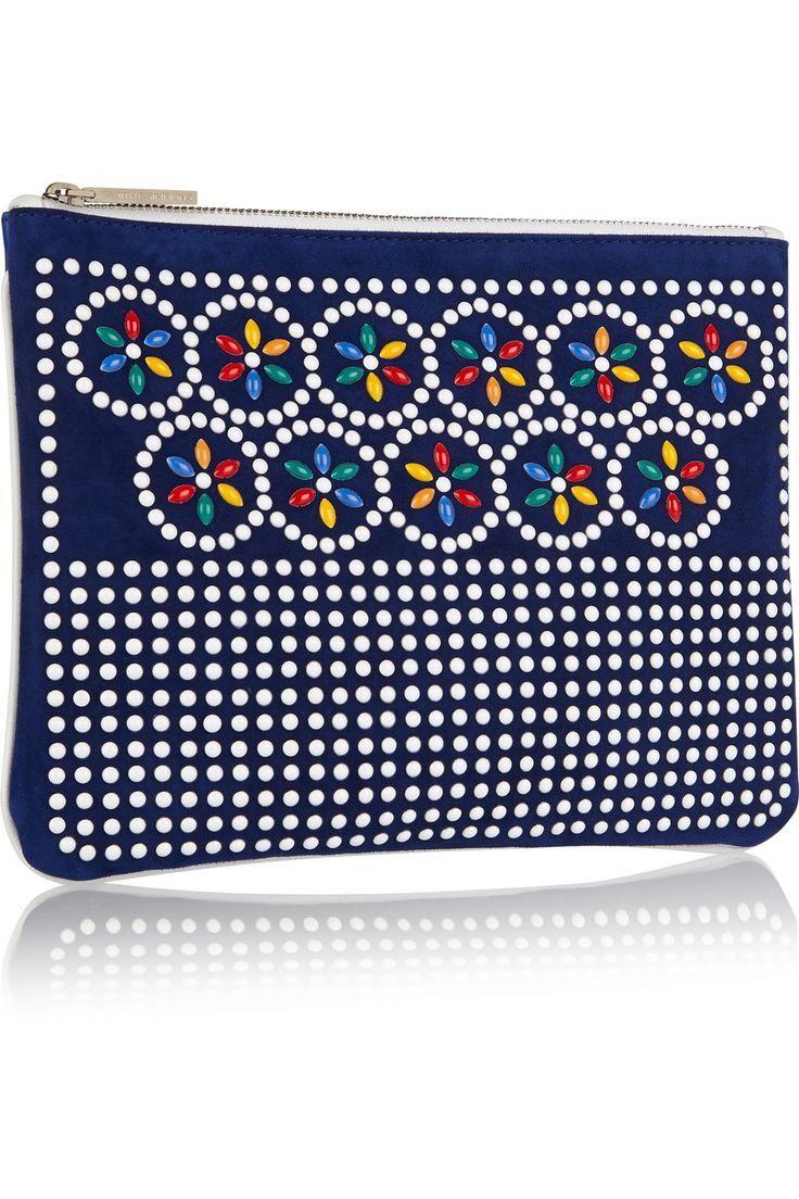 Tabitha Simmons Embellished suede and leather pouch €375