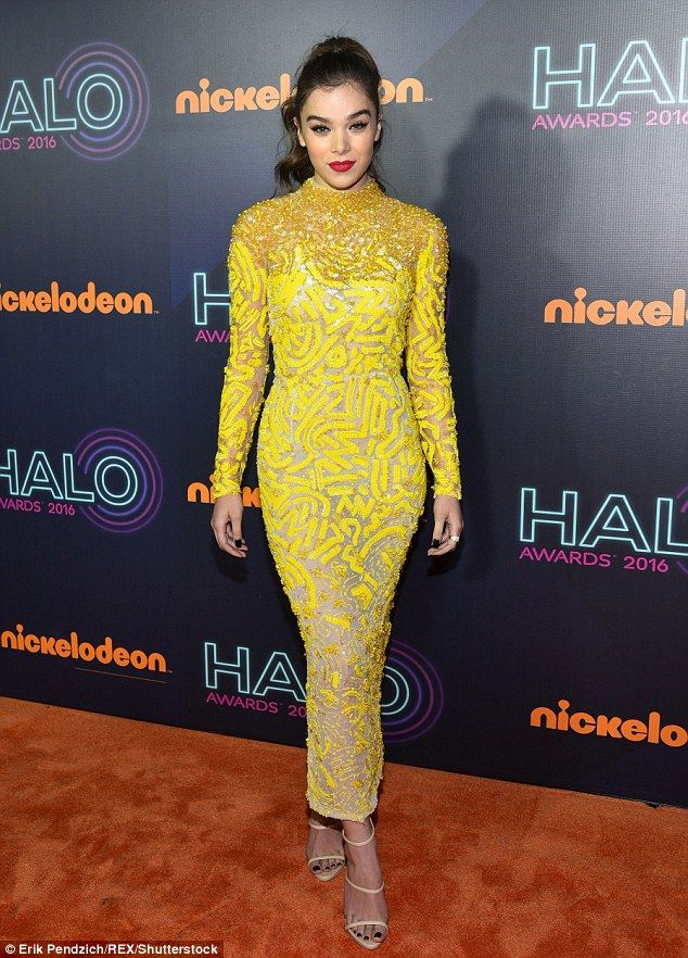 Not so mellow yellow: Hailee Steinfeldwas a sight to see on the orange carpet of the 2016...