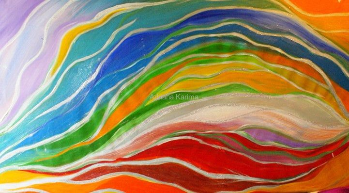 Pełnia Barw 2012  Adriana Karima Rozmiar oryginału 120 cm x 70 cm  Pełnia barw jest symbolem pełni, spełnienia i harmonii w każdym aspekcie życia.  Obraz tętniący energią. Jeśli potrzebujesz dodatkowej dawki energii, zaproś ten obraz do Twojego Domu.   Oryginał obrazu na sprzedaż  Dostępne reprodukcje obrazu