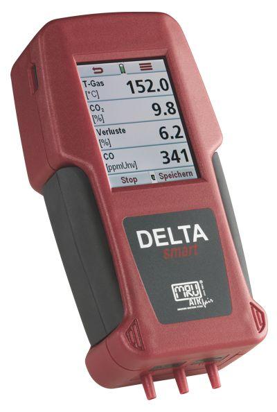 DELTAsmart füstgázelemző: Robosztus, precíz füstgáz-, nyomás és hőmérséklet mérési technika hordozható kivitelben az olaj-, gáz-, és fatüzelések méréséhez.