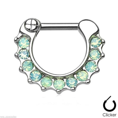 "Septum Nose Clicker Petite w/Opalite Green Gemmed 16 Gauge 5/16"" Steel Body Jew"