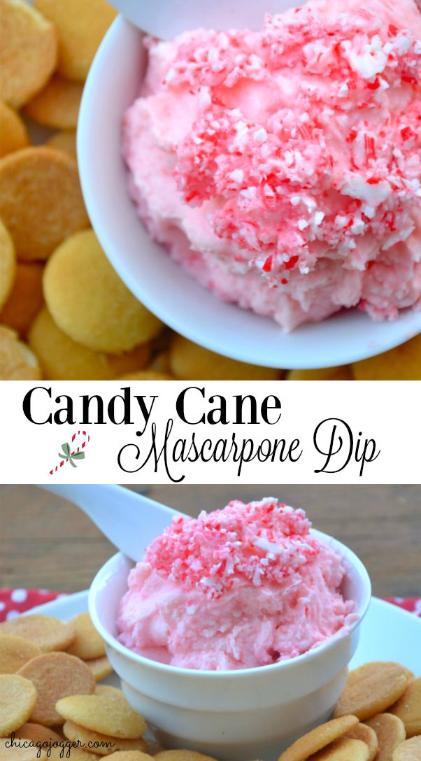 Candy Cane Mascarpone Dip - a delicious holiday recipe for the Christmas season with only three ingredients!   chicagojogger.com #ad